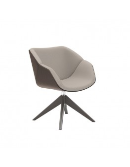 Isotta Wood Soft Armchair - Swivel Pyramid Timber
