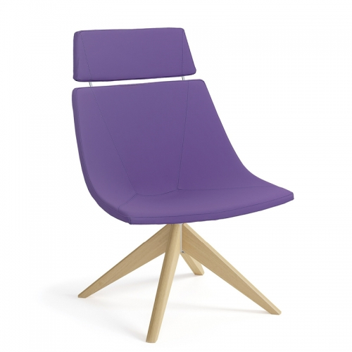 Skoop Soft Chair - High Back Swivel Timber